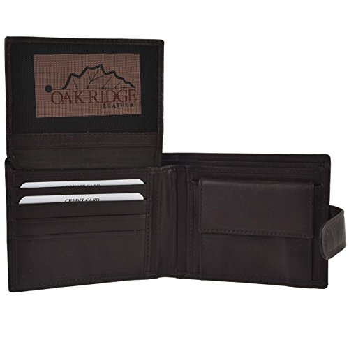 Mens Soft Tabbed Bi-Fold Leather Wallet by Oakridge; Nevada Collection Gift
