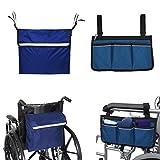 Kangwell Juego de mochila para silla de ruedas y bolsa lateral | Gran capacidad, ligera, accesorios para silla de ruedas y caminar, bolsa para reposabrazos, mochila con tiras reflectantes
