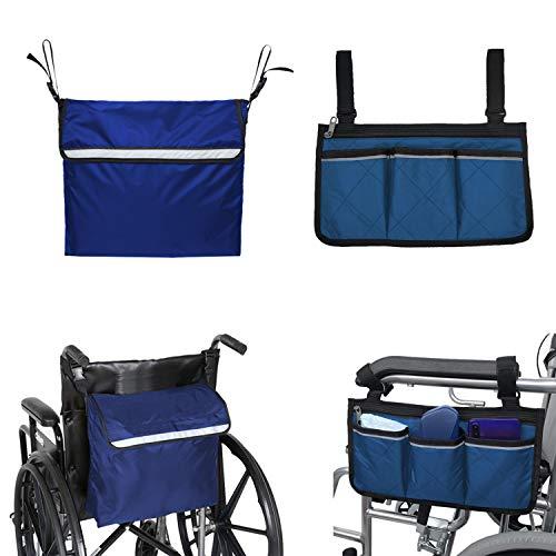 Kangwell Juego de mochila para silla de ruedas y bolsa lateral   Gran capacidad, ligera, accesorios para silla de ruedas y caminar, bolsa para reposabrazos, mochila con tiras reflectantes