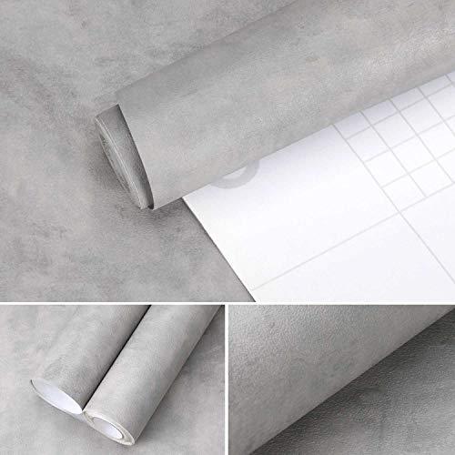 0.61 * 5M Beton Optik Selbstklebende Tapete aus hochweitige PVC Modern Wanddeko verdickte Wandaufkleber Tapete für Wandtapete Wohnzimmer Schlafzimmer Küchen Cafe (Grau)