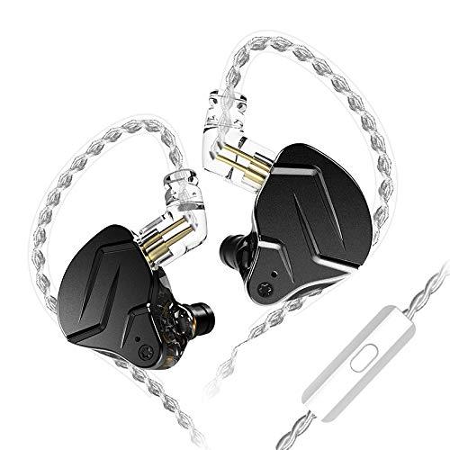 KZ ZSN Pro X - Auriculares con 1BA y 1DD, KZ en los auriculares en los oídos con monitor de oído (0,75 mm, cable de 2 pines, color negro, con micrófono)