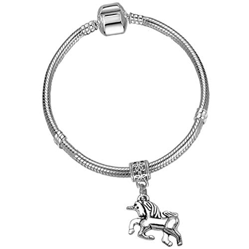 Girls 17cm Silver Starter Charm Bracelet with Silver Unicorn and Gift Box Age 7-12 Years