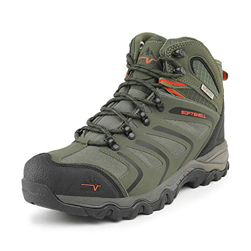 NORTIV 8 Men's 160448_M Olive Green Black Orange Ankle High Waterproof Hiking Boots Outdoor Lightweight ShoesTrekking Trails Size 12 M US