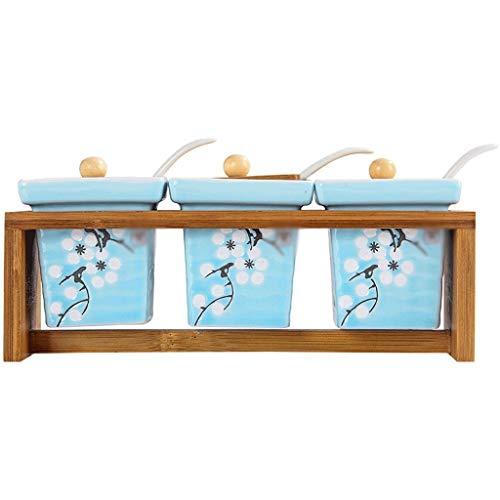 SJYDQ Frasco de bambú de Especias de cerámica Palillos de Tubo de cerámica Doble Tubos de cerámica Botellas de condimento (Color : A)