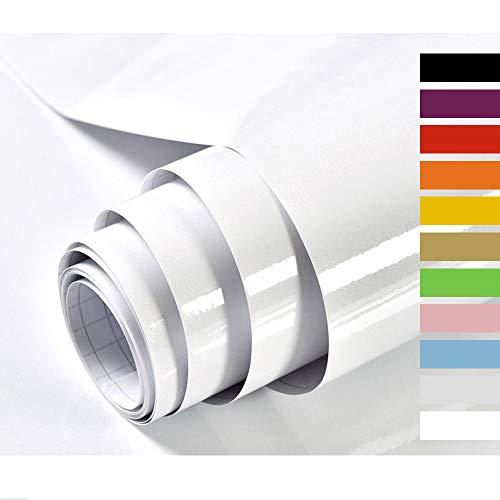 Hode Weiss Möbelfolie Selbstklebende Folie Dekorfolie Klebefolie für Möbel Küche Oberflächenschutz Wasserdicht Vinyl Hochglanz Mit Glitzerpartikel Effekt Weiß 40cmX300cm
