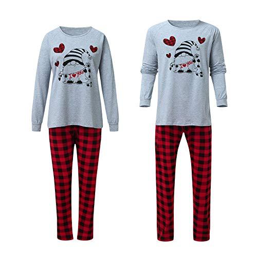 Pijamas de pareja San Valentín Conjunto de Pijamas Familiares Manga Larga Top y Pantalones Largos 2 Piezas Ropa de Dormir Invierno Juego Homewear
