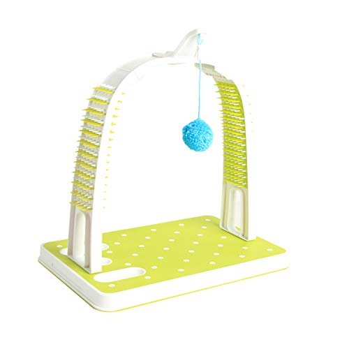 All for Paws Cat Self Grooming Arch with Play Ball, Reduce Shedding & Scratching