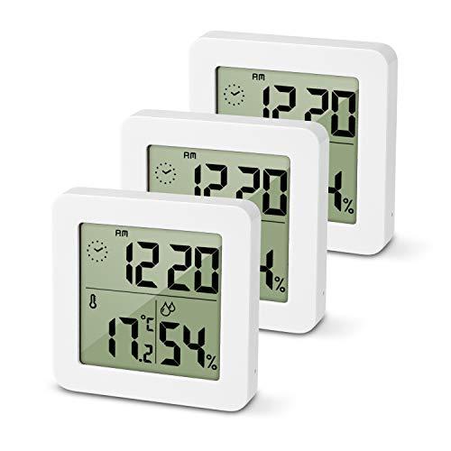 Oule 3 Stück Digitale Wanduhr mit Thermo-Hygrometer zur Raumklimakontrolle Messgerät für Überwachung der Luftfeuchtigkeit Temperatur LCD Indikator für Innenraum (3er-Pack)