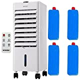 Mylek Portable Air Cooler 4L - 6 Operational Modes, 3 Fan & 3 Wind Speeds, LED Display, Remote Control, Powerful Evaporative Humidifier Air Purifier,, 4 Ice Packs, Timer & Automatic Oscillation