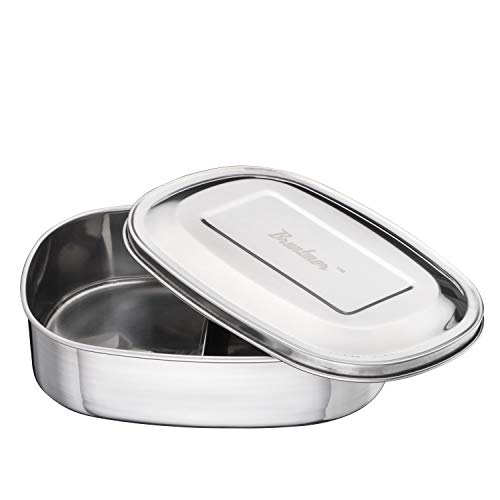 Bruntmor Trois 3 Section 18/10 Stainless Steel kids Lunch Box & Food Container, 17oz