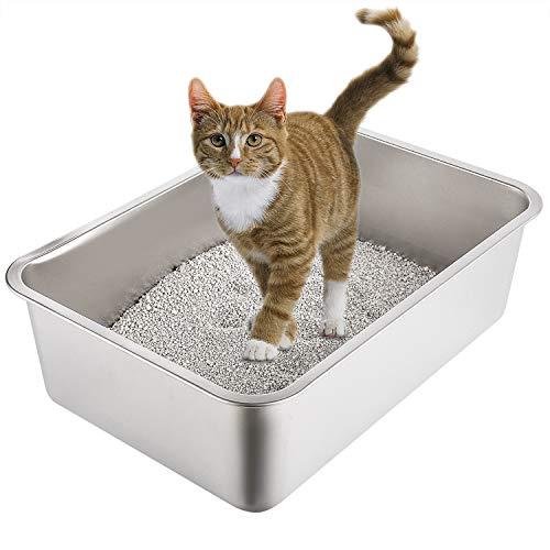 Yangbaga Lettiera per Gatti Grandi Toilette per Gatti Acciaio Inossidabile para Conejo, Gato, Perro (60 * 40 * 15cm)