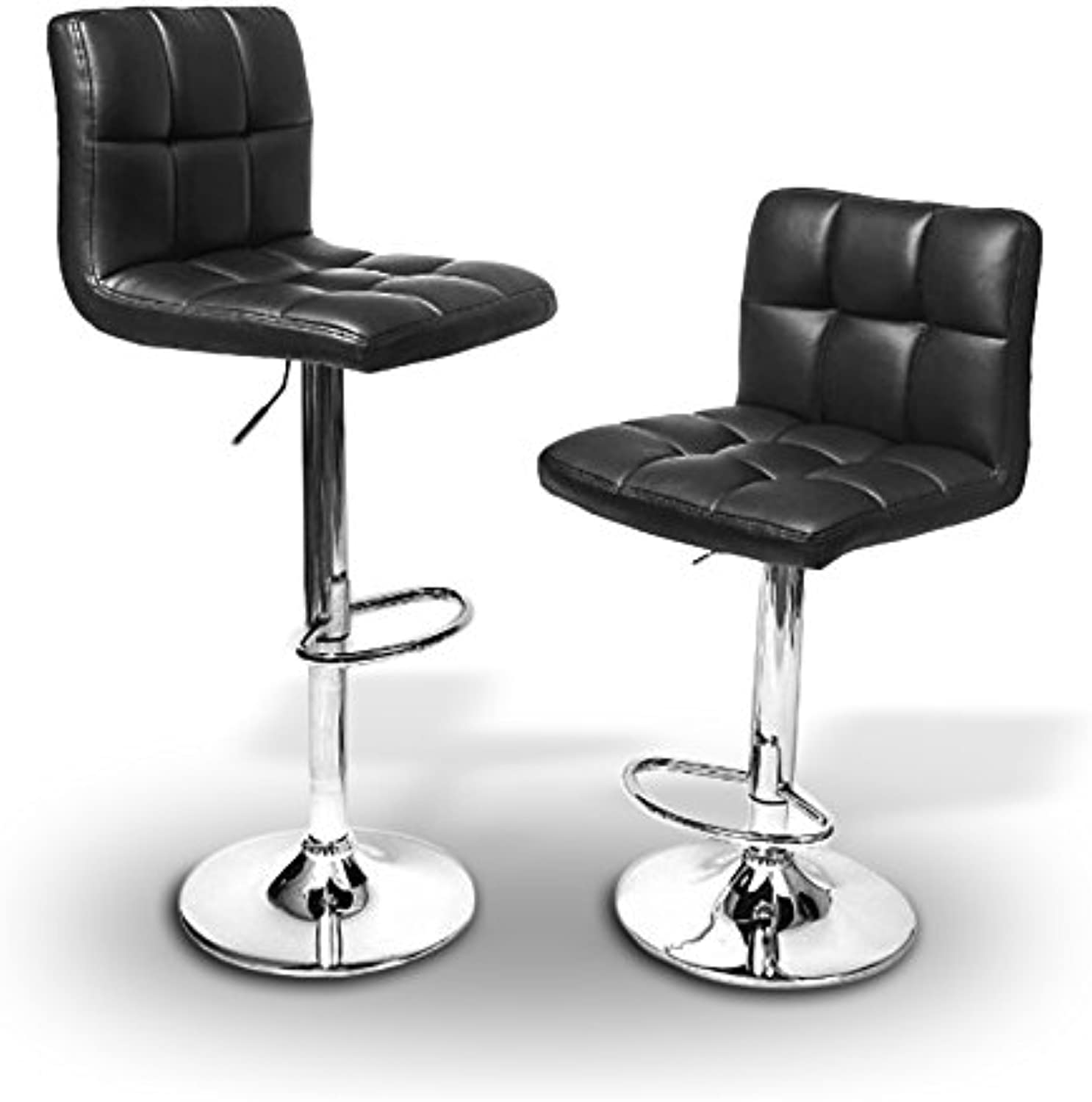 2 x PU Leather Hydraulic Lift Adjustable Counter Bar Stool Dining Chair Black -Pack of 2 (150) Made By jersey seating