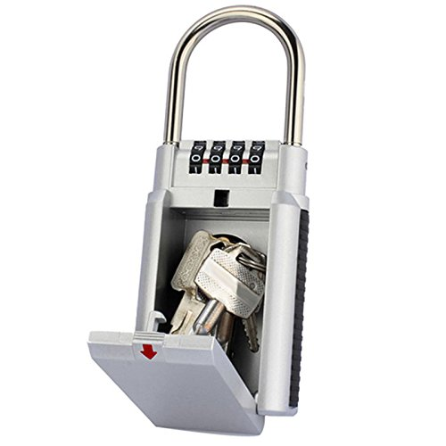 1stモール ダイヤル式 キーボックス 4桁 南京錠 ビニール保護付き (シルバー ) ST-KEYBOX2-SV