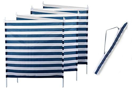 Creation Gross Windschutz Sichtschutz Sonnenschutz blau weiß gestreift 6m*1,2m, 7 Stahlstangen für Strand Camping Garten Balkon