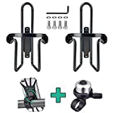 Bicycle Water Bottle Cages, 2 pcs Lightweight Aluminum Alloy Bike Water Bottle Holder Cages Brackets with 1 pcs Silicone Bike Phone Mount + 1 pcs Bicycle Bell for Outdoors (4 Packs)