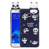 WindTeco Funda Galaxy J7 2016, Ultra Delgado 3D Panda Funda Protectiva Carcasa de Silicona Gel TPU Case Shock-absorción Teléfono Caso para Samsung Galaxy J7 2016
