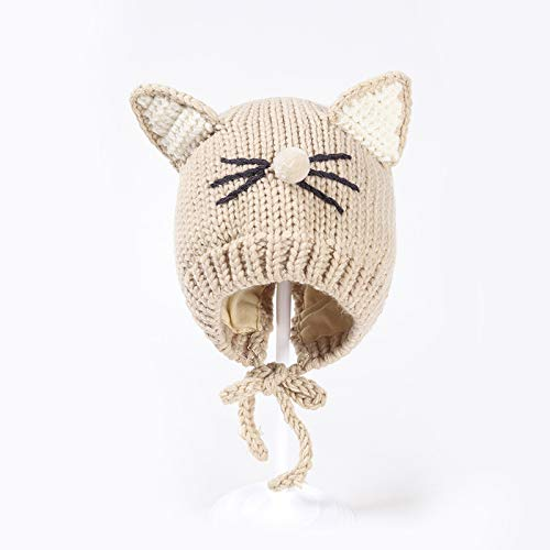 wopiaol Children's knitted hat, hand-knitted cute cat and baby hat, plus velvet, autumn and winter warm, split, lace-up hat