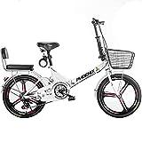 DODOBD Bicicleta Plegable para Hombres y Mujeres, 20 Pulgadas Bicicleta Retro de Ciudad, Bici Plegable Plegado para Adultos Estudiante Coche Plegable, Fácil de Transportar