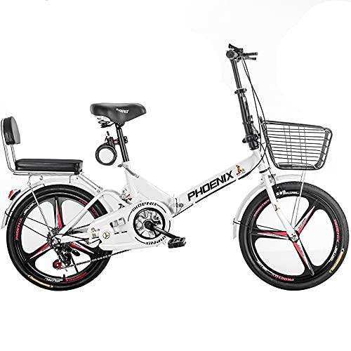 DODOBD Folding 20 Zoll Klapprad, Licht Aluminium Faltrad, Klappräder Cityrad Schnellklappsystem, für Erwachsene Ultraleichtes Tragbares Studentenfahrrad, Geeignet 145-180 cm