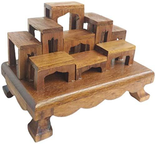 CoziNest Mini Altar Thai Buddha Worship Wood Set 9 Amulet Miniature Table Teak Shelf 2.7' x 4.2' x 3'