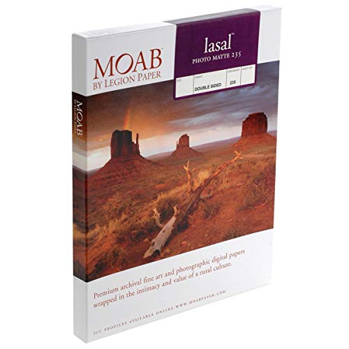 """Moab Lasal Photo Matte, Double Sided, Bright White Archival Inkjet Paper, 235gsm, 8.5"""" x 11"""", 50 Sheets"""