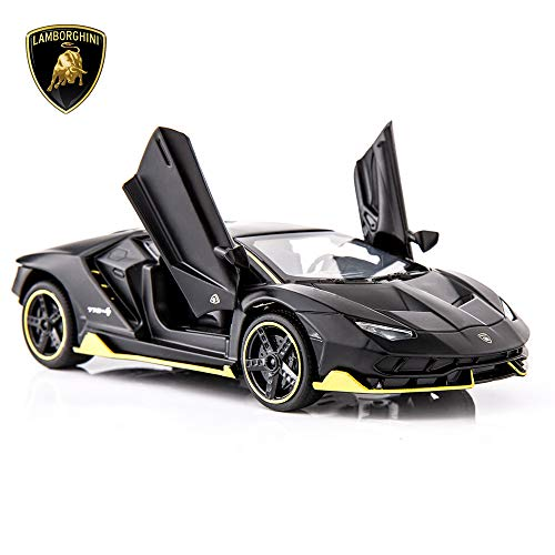 BDTCTK Centenario LP770-4 Casting Car Model Toy 1/32 Child Sound and Light Pull Back Car Zinc Alloy Toys for Kids Boy Girl Gift (Black)