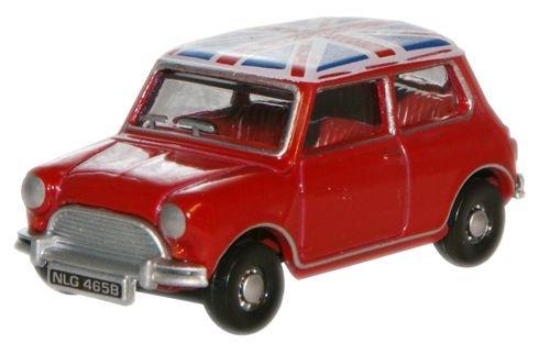 Oxford Diecast 76MN001 Tartan Red - Union Jack Austin Mini