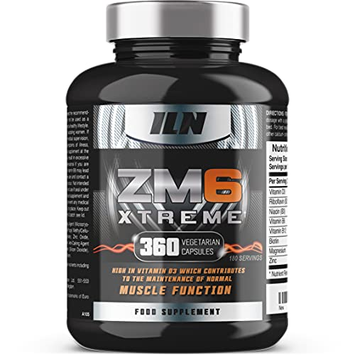 ZM6 Xtreme - High Strength - Zinc & Magnesium with D3 which contributes to Normal Muscle Function - 360 Vegetarian Capsules (180 Servings)