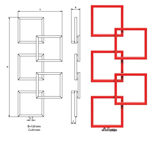 Radiador seca, diseño de alta gama en formas geométricas, mixto, agua caliente y eléctrica, 1540 x 685 mm (rojo)
