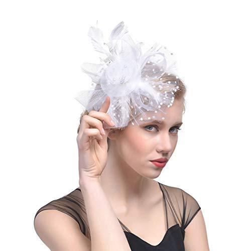 Fashband Bridal Shower Fascinator Sombrero Plumas de malla de flores en una diadema y un clip Cóctel Tea Party Headwear Derby Kentucky Races Ceremonia Sombrero de copa para niñas y mujeres (rosado)