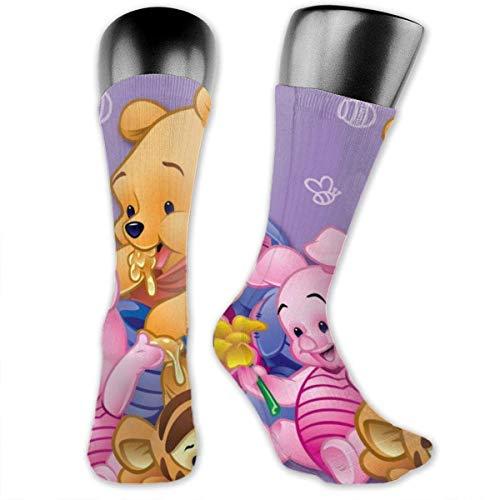 Medias de tubo largo vino The Pooh con amigos calcetines de tubo largo unisex al aire libre