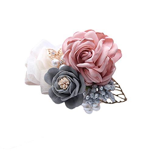 BIGBOBA Pulsera del Flor Muñeca de Chica Dama de Honor Flor de la Muñeca de Decoración de Boda Múltiples colores disponibles