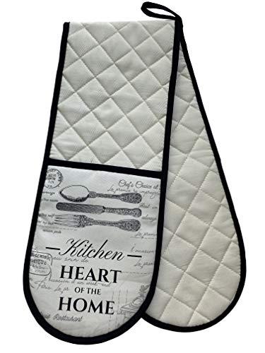 GREVY 100% Baumwolle Doppel-Ofenhandschuh für Kochen und Backen(Doppel-Ofenhandschuh)