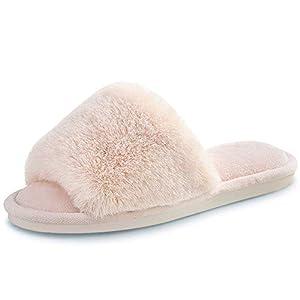 Women's Faux Fur Slippers Fuzzy Flat Spa Fluffy Open Toe House Shoes Indoor Outdoor Slip on Memory Foam Slide Sandals