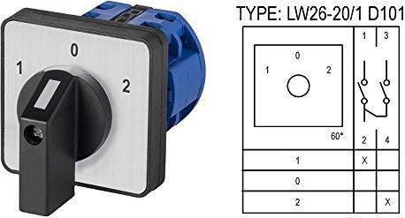 Drehschalter Nockenschalter Wendeschalter Auswahl: 7 Modelle / 0-1/1-0-2 / L-0-R / 0-Y-∆ (LW26-20/1 D101)