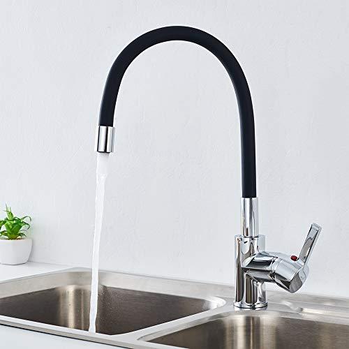 Auralum Grifo de Cocina Negro y Cromado con Caño Flexible, 360° Grifo Monomando de la manguera de goma con Aireador, Agua Fría y Caliente disponibles