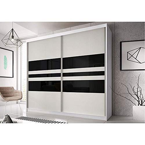 Kleiderschrank Schwebetürenschrank 2-türig Schrank mit vielen Einlegeböden und Kleiderstange Gaderobe Schiebtüren BxHxT 183x218x61 - Ben 1 (Weiß)