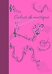 cahier de musique grand format A4 rose: carnet de partition- fille- avec 12 portée/ page - Format A4 ( 21 x 29,7 cm) - 131 pages - ROSE BRILLANT - ... - idée cadeau st valentin (French Edition)