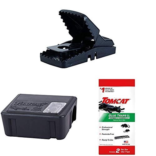 Tomcat Rat Snap Trap with Tier 1 Refillable Rat & Mouse Bait Station (1 Station + 15 bait refills) and 2 Rat Glue Traps