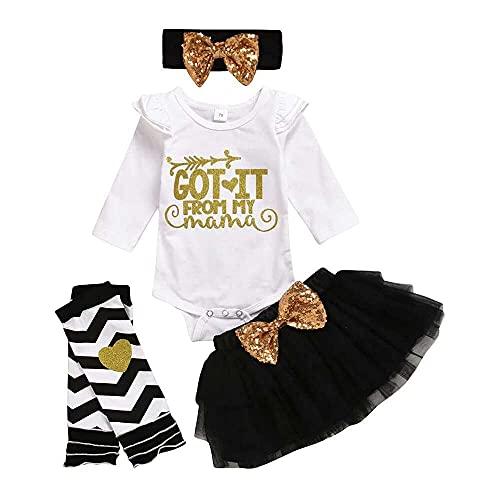 junmo shop Conjunto de ropa para recién nacido, para el día de la madre, manga larga, con tutú de malla, banda para el pelo, calentador de piernas