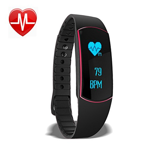 Fitness Tracker Herzfrequenz Monitor Sports Armband Schritt und Schlaf Monitor Kalorien Zähler Aktivitättsracker Smart Armband für iPhone IOS und Android Handy