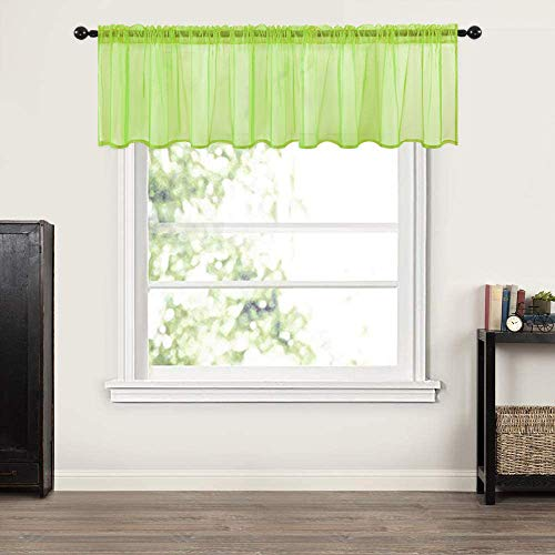 MIULEE Window Valance Half Window Sheer Curtains Rod Pocket Semitranslucent Voile Drapes Extra Wide for Small Window Kitchen Cafe One Panel 60 x 18 Inch Green
