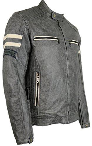 Herren Motorrad Retro Lederjacke (4XL) - 2