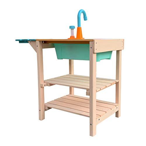 Wiltec Matschküche für Kinder aus Holz mit Spülbecken für Garten, Terrasse und Balkon - 2
