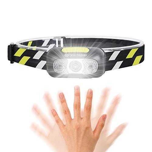 Linterna Frontal LED USB Recargable,Victoper Linterna Cabeza 5 Modos Sensor de Movimiento, Linternas LED Alta Potencia IPX5 Impermeable para Camping, Excursión, Pesca, Carrera, Ciclismo