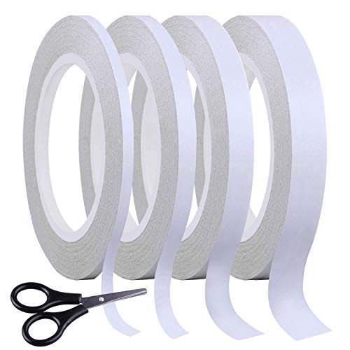 SIQUK 4 Rolls Double Sided Tape Strong Adhesive Sewing Tape with 1pc Mini Scissor for Craft Class Office, 39.4 Yards Each Roll (Width: 6mm/ 9mm/ 12mm/ 15mm)