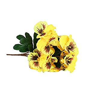 Fansipro 2PCS Artificial Flowers Bouquet Fake Pansy Bunch Home Wedding Party Grave Decor, 7 26 (cm), Yellow