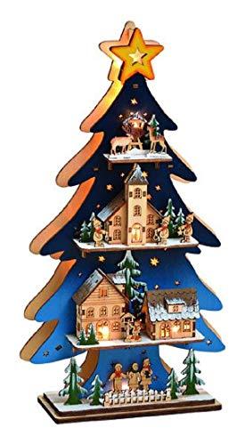 Bavaria Home Style Collection LED Weihnachtsdeko mit Tannenbaum beleuchtete I Stimmungsleuchter aus Holz Winterlandschaft I Adventsdeko Weihnachten für innen I Lichterbogen Baum