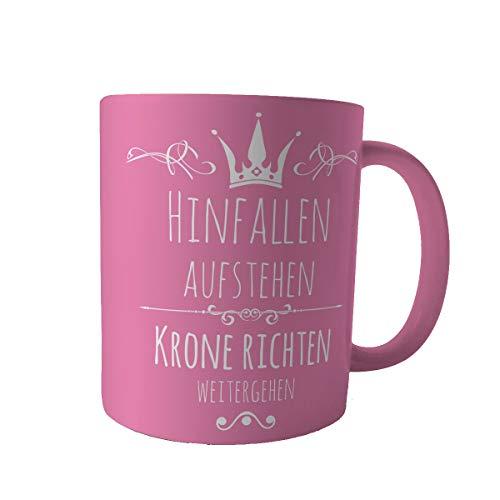 Creativgravur Tasse Kaffeebecher Kaffeetasse - Prinzessin hinfallen, aufstehen, Krone richten, weitergehen - Druck oder Gravur, Motiv:Motiv 02