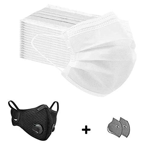 50 Stück Mundschutz Maske Schutzmaske Plus 1 Mund und Nasenschutz Waschbar Staubschutzmaske Wiederverwendbar Atmungsaktiv Mundschutz Winddicht Unisex Halstuch - Mit 2 Aktivkohlefiltern